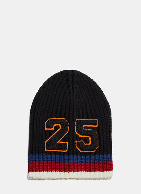 Striped Knit 25 Patch Beanie Hat