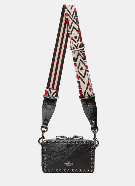 Guitar Rockstud Rolling Rectangular Crossbody Bag