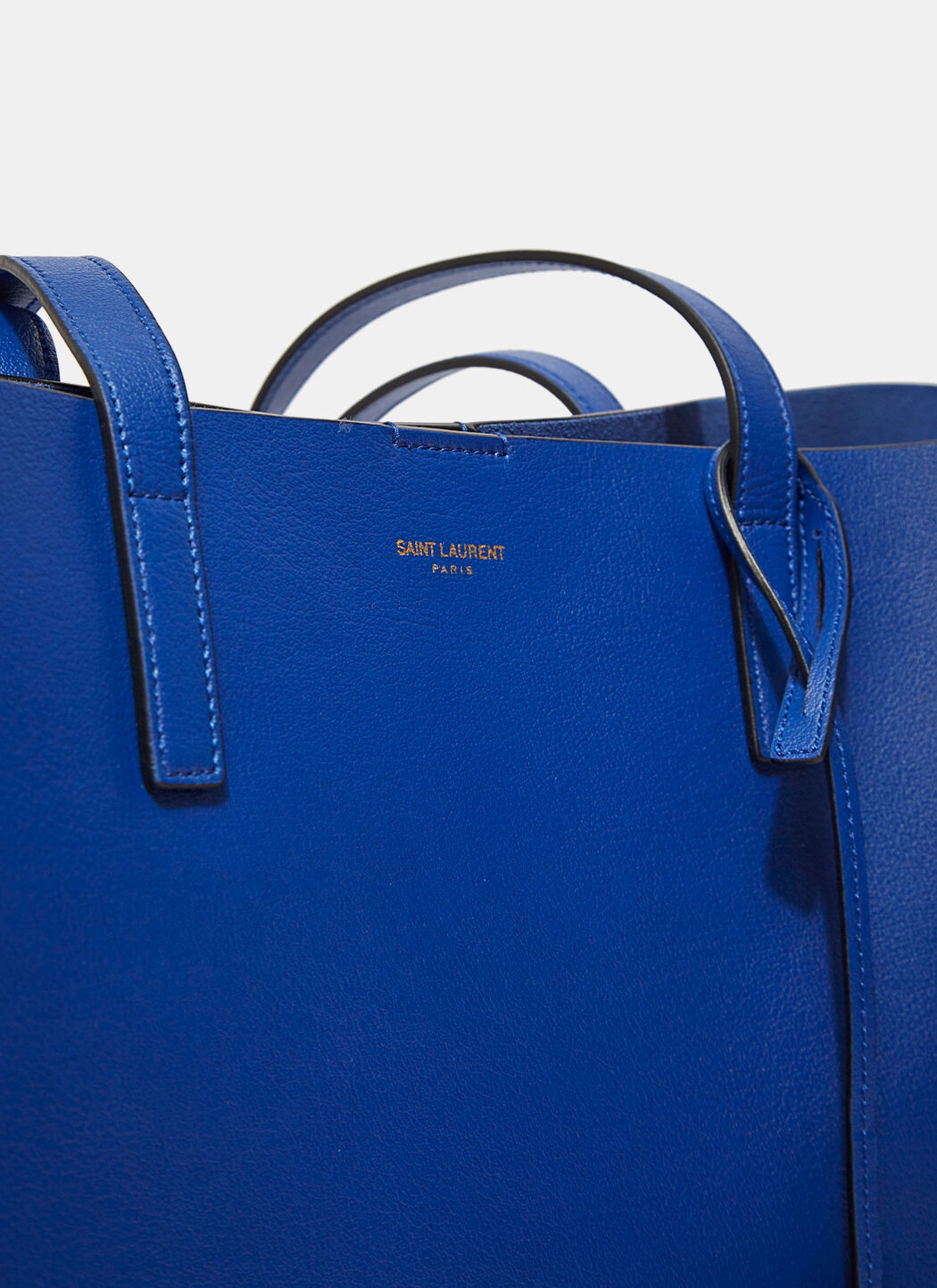 Large Shopping Saint Laurent Tote Bag In Ultramarine And Black Leather