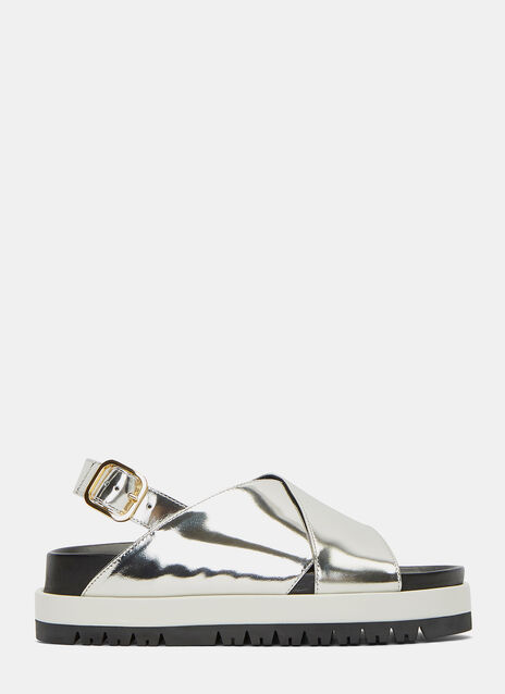 Metallic Cross-Over Strap Sandals