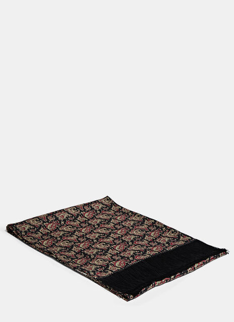 Silk Printed Paisley Scarf in Black