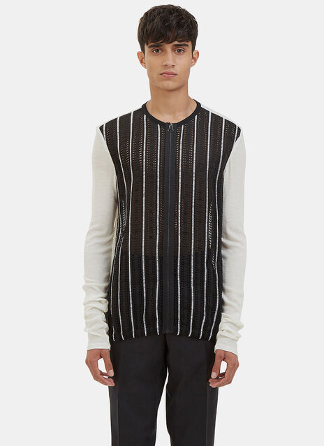 Embroidered Mesh Front Zip-Up Sweater