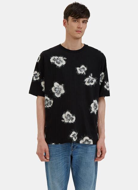 Glittery Hibiscus Print T-Shirt