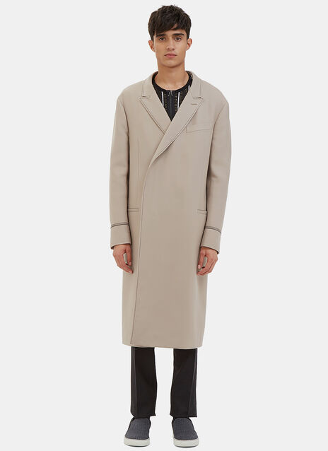 Double-Breasted Contrast Stitch Coat