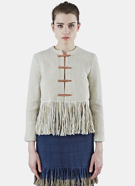 Lineas Cropped Woven Fringed Jacket