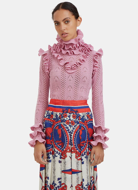 Roll Neck Ruffled Knit Sweater