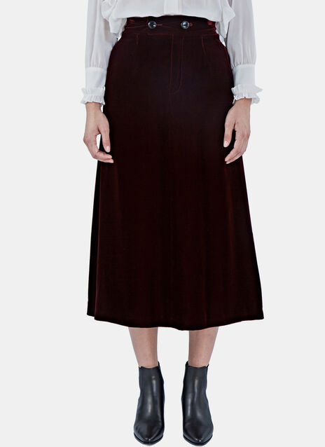 Mid-Length Velvet Skirt