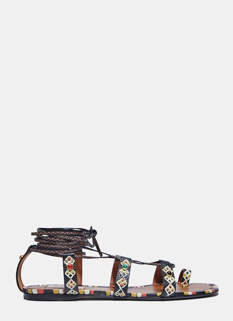Painted Leather Wrap Sandals