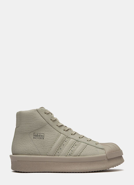 x adidas Mastodon Pro High-Top Cracked Leather Sneakers
