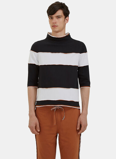 Raw Layered Mock Neck Striped T-Shirt