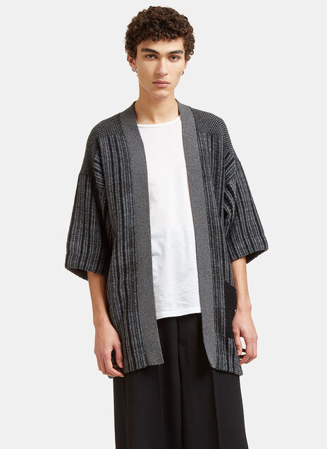 Mixed Yarn Knitted Noragi Cardigan