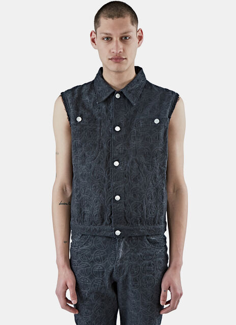 Sleeveless Embroidered Denim Vest