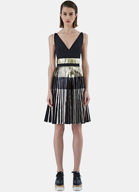 Long foil Pleated Dress