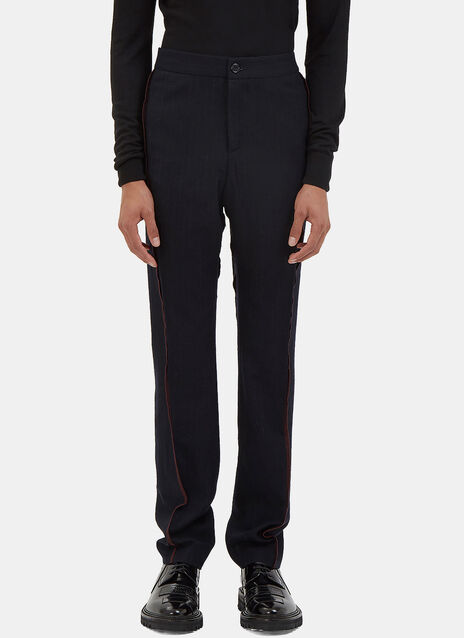Serged Seam Pinstripe Wool Pants