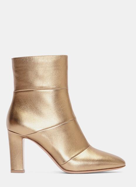 Brandy Metallic Heeled Ankle Boots