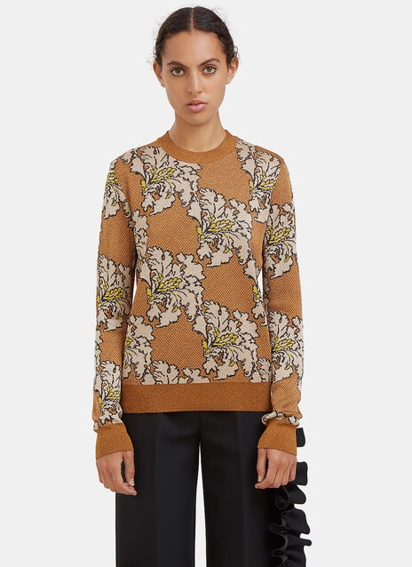 Metallic Floral Jacquard Sweater