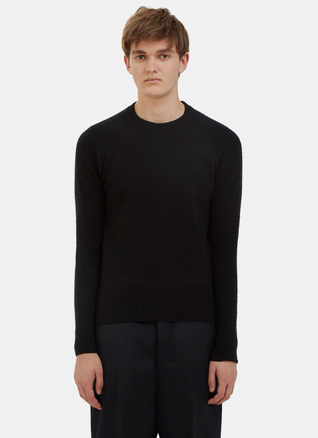 Ribbed Raglan Sleeve Crew Neck Sweater