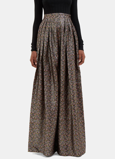 Metallic Floral Brocade Wide Leg Pleat Pants