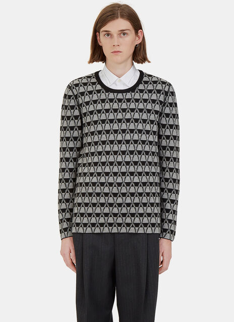 Geometric Jacquard Crew Neck Sweater