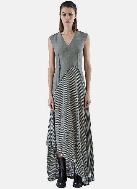 Long Gingham Patchwork Dress