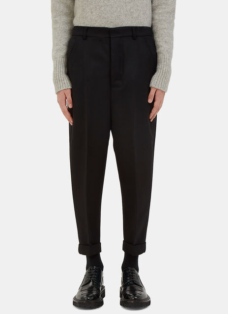 Carrot Cut Wool Twill Pants
