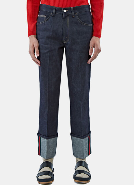 Trimmed Cuff Pleat Jeans