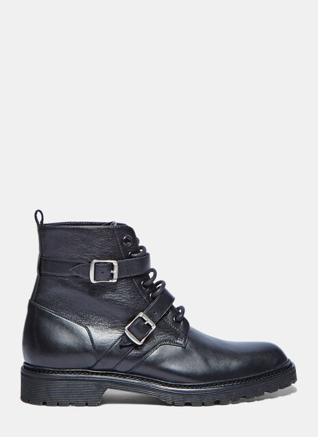 Double Strap Lace-up Leather Military Boots