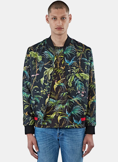 Satin Tropical Print Bomber Jacket