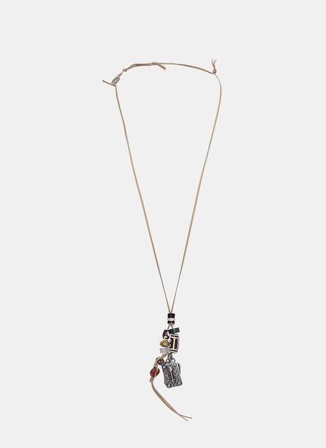 Leather Tie Bead Pendant Necklace