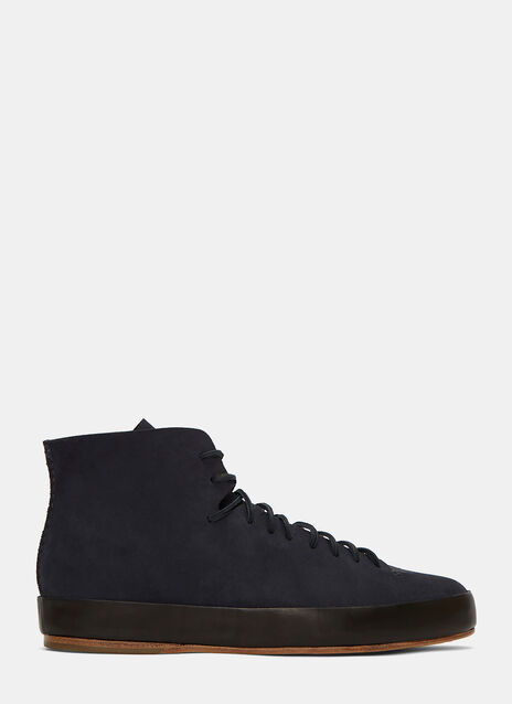 Hand Sewn High-Top Suede Sneakers