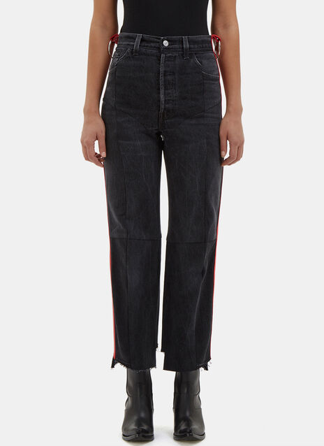 Reworked Leather Stripe Trimmed Jeans