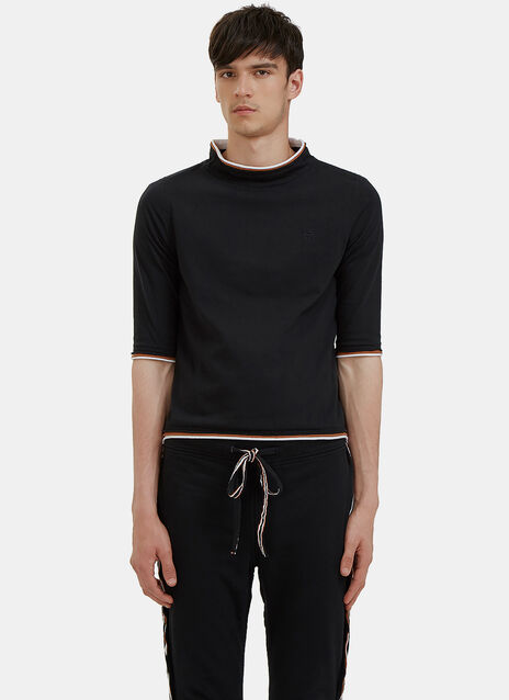 Raw Layered Mock Neck T-Shirt