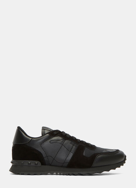 Camouflage Contrast Panel Stud Sneakers