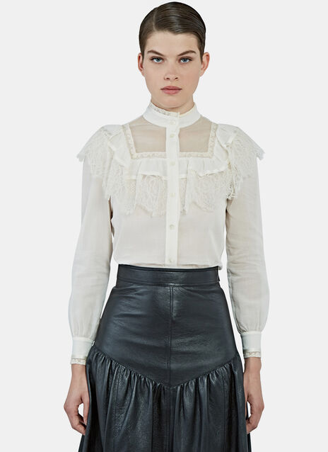 Lace Trimmed Folk Blouse
