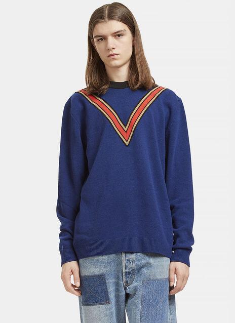 Striped V Crew Neck Cashmere Sweater