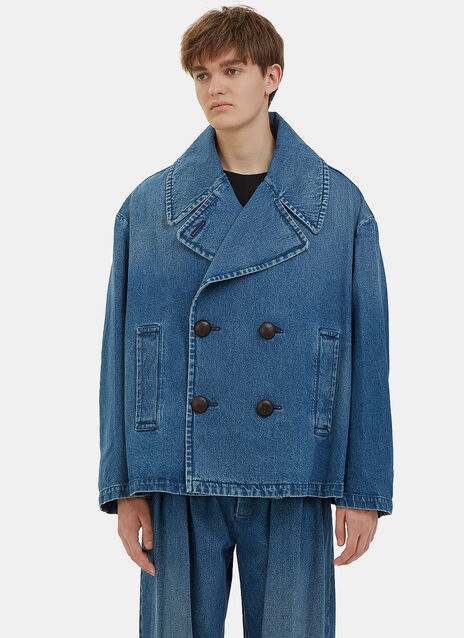 Oversized Denim Pea Coat