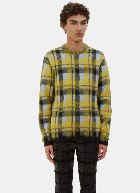 Checked Hairy Knit Crew Neck Sweater