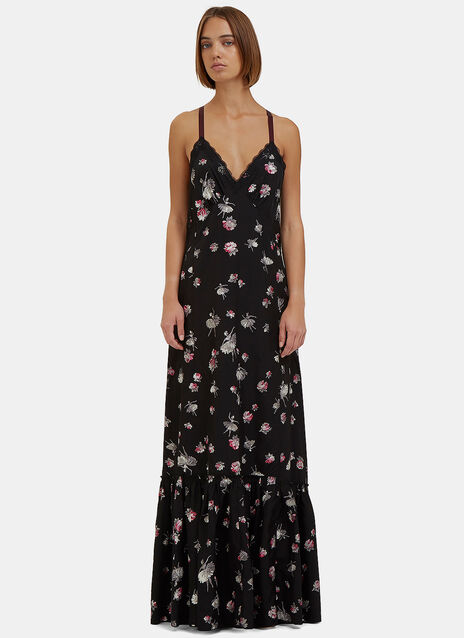 Long Floral Dropped Ruffle Slip Dress