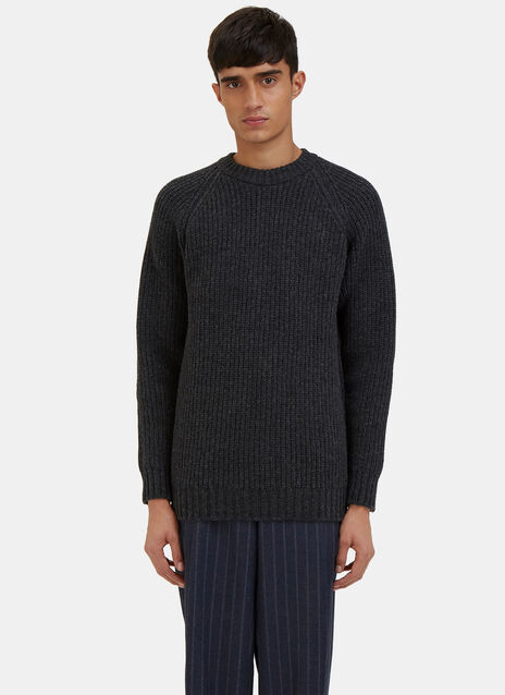 Raglan Sleeved Ribbed Knit Sweater