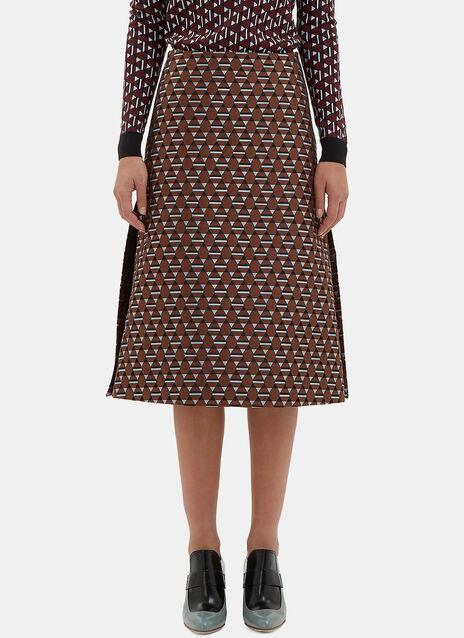 A-Line Geometric Slit Skirt