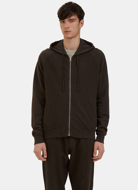 Reverse-Side Loopback Fleeced Zip-Up Hooded Sweater