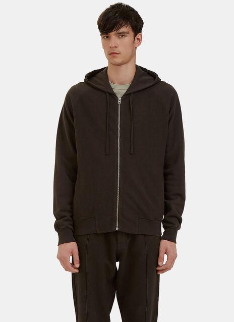 Reverse-Side Loopback Fleeced Zip-Up Hooded Sweater