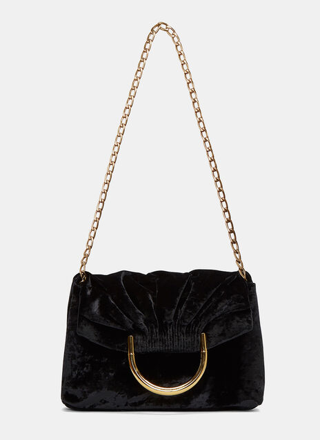 Ruched Velvet Shoulder Bag