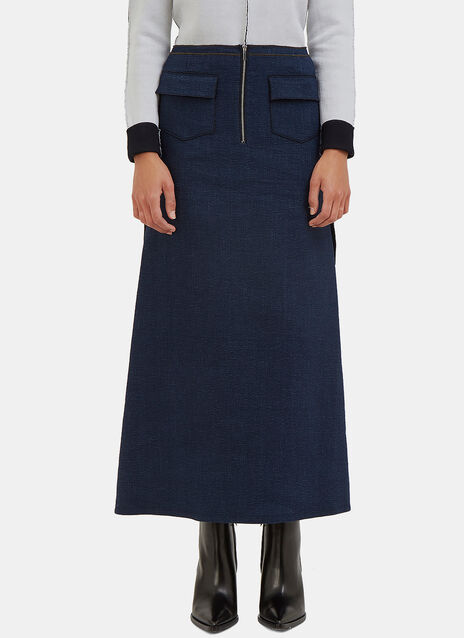 Overlocked Seam Denim Look Skirt