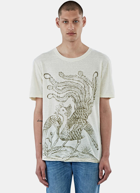Bird Print Linen T-Shirt