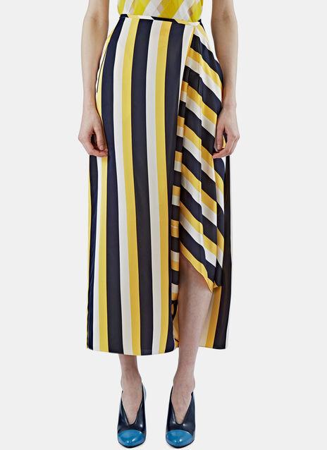 Long Asymmetric Striped Skirt
