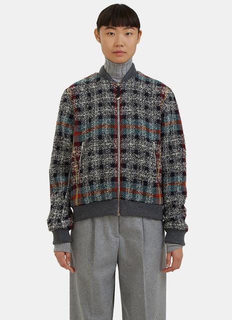 Azura Checked Tweed Bomber Jacket