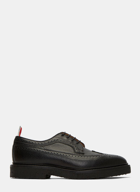 Pebbled Leather Wingtip Brogue Shoes