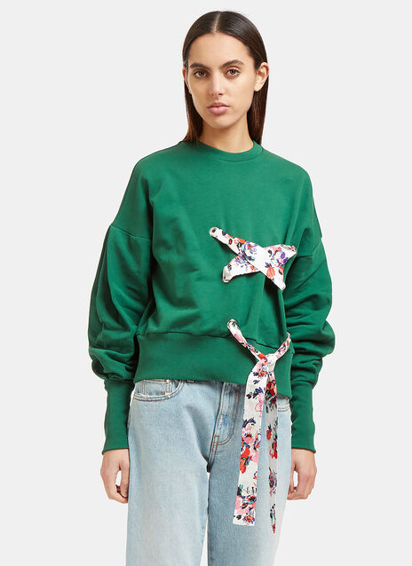 Floral Ribbon Tie Crew Neck Sweater