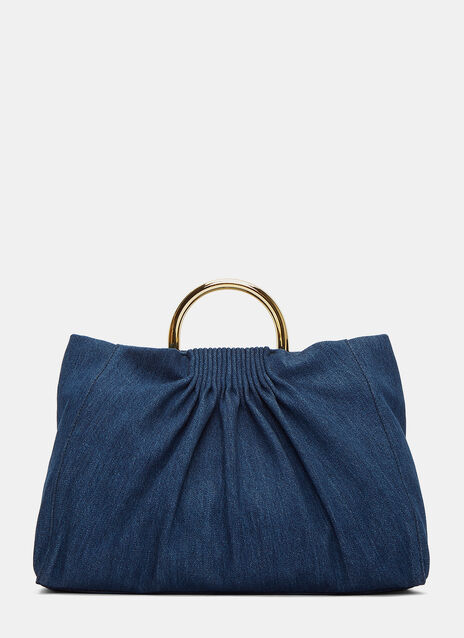 Ruched Denim Shoulder Bag